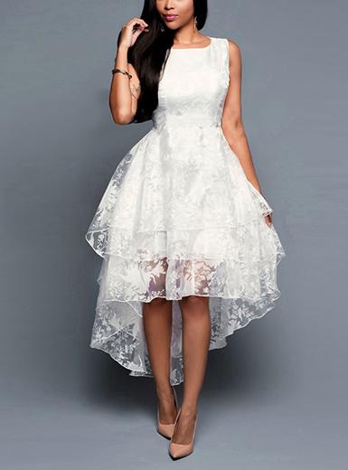 Women's High Low White Lace Dress - Three Layered / Sleevele