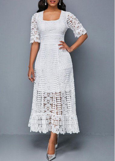 Short Sleeve Square Collar White Lace Dress | Short sleeve lace .