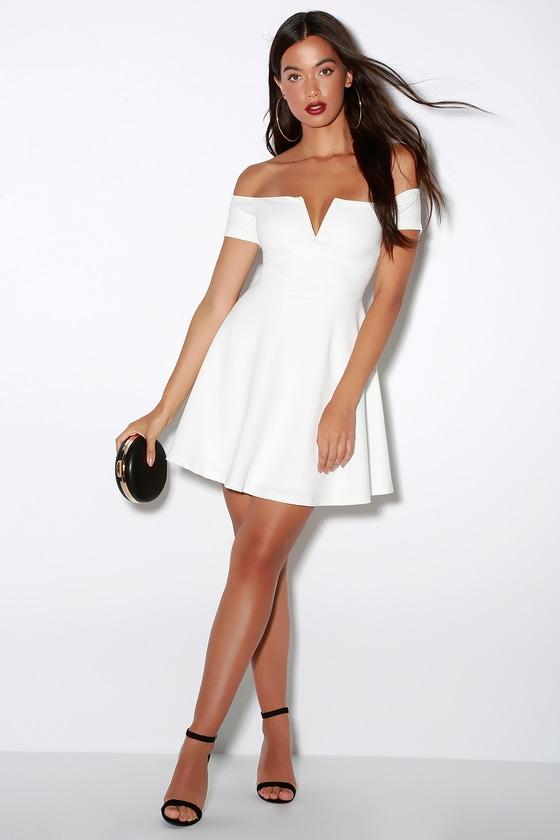 Cute White Dress - Off-the-Shoulder Dress - Skater Dress - L