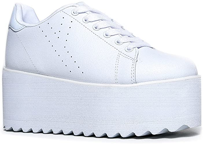 Amazon.com | YRU Lala - White High Platform/Wedge Sneaker .
