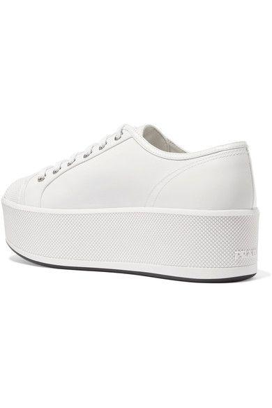 Prada - Linea Rossa Leather Platform Sneakers - White - IT .