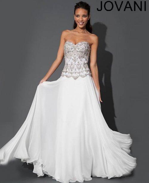 Elegant White Long Prom Dress