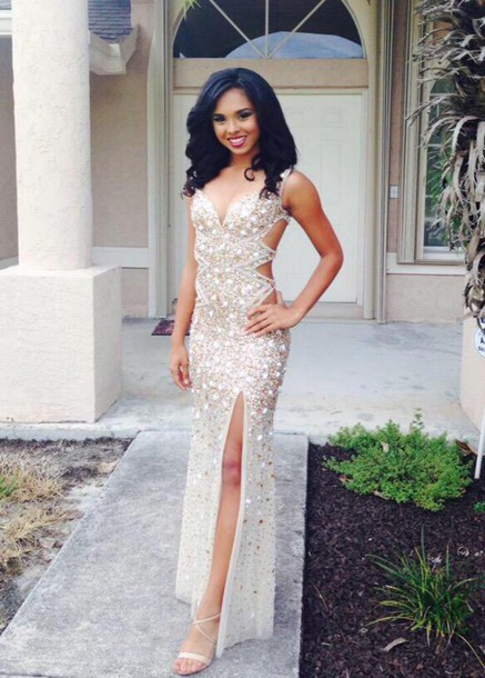 Beaded Prom Dresses,Beading Prom Dress,White Prom Gown,Sparkly .