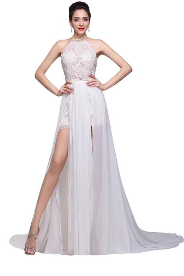 Lace Long Chiffon White Halter Open Back Prom Dresses OK7 – Okdress