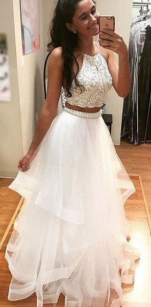 Two Pieces White Prom Dress Long, Prom Dresses,Graduation Party .
