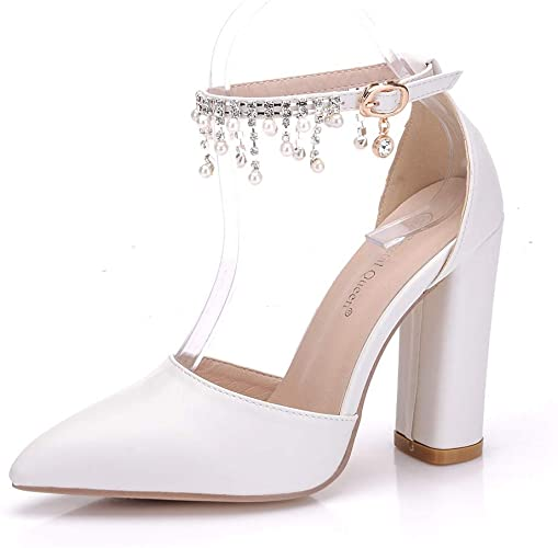 Amazon.com | lvguang White Wedding Shoes High Heels Sandals Women .