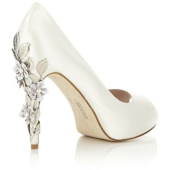 Simple white wedding shoes with a decorative floral heel | Wedding .