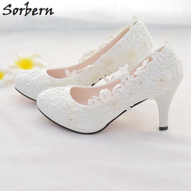 White Lace Flower Wedding Shoes Slip On Round Toe Bridal Shoes .