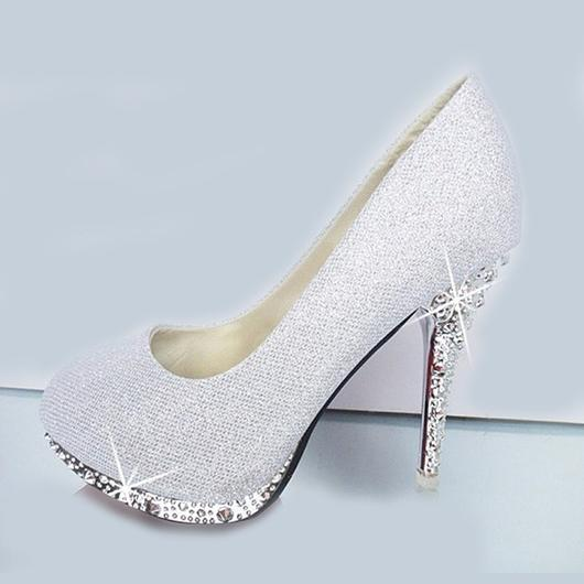 2016 Glitter White Wedding Shoes Evening Shoes Crystal Red Bott0m .