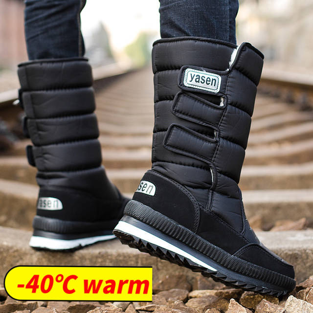 snow boots men waterproof mens winter boots With Fur winter shoes .