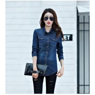 Jeans Shirt women 2018 Long Sleeve Slim Casual Vintage Elastic .