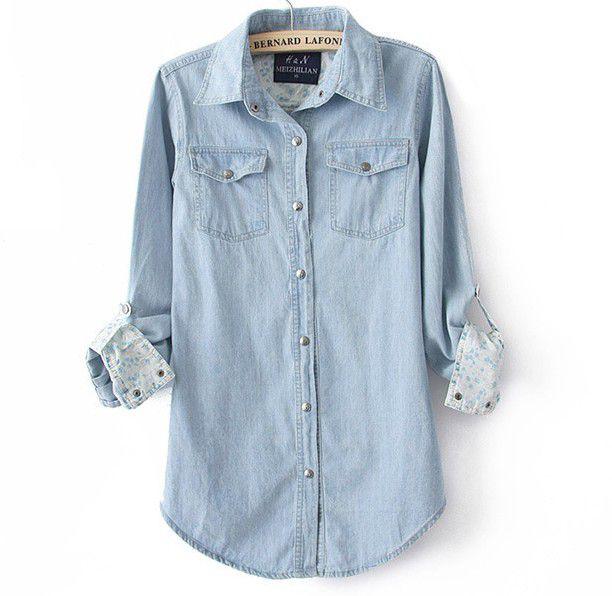 Fashion Women's Denim Shirt BACEB on Luul