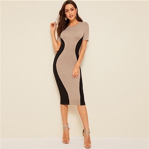 SHEIN Color-Block Pencil Dress Classy Slim Fit Summer Women .