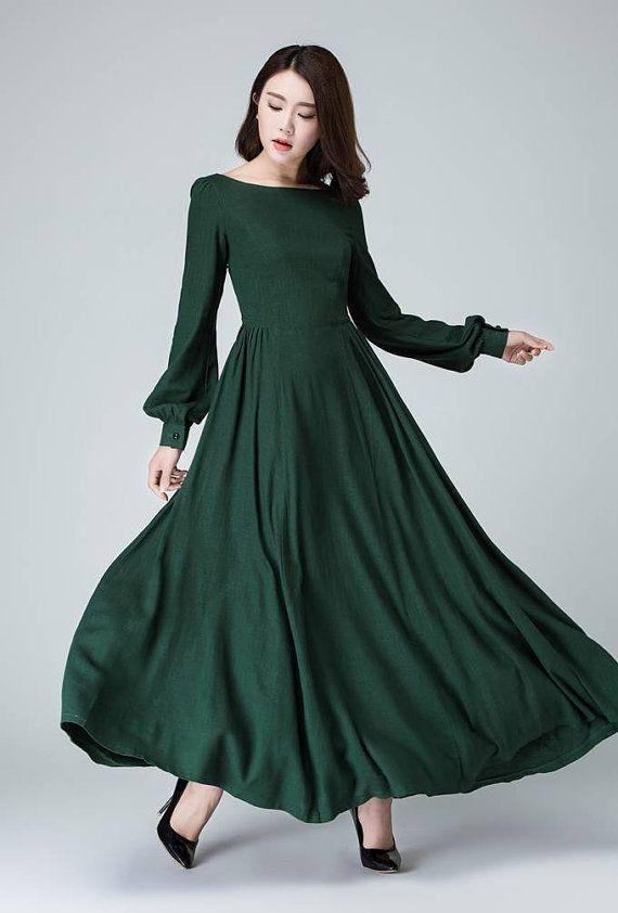 Linen dress long, women dresses formal, prom dress long sleeve .