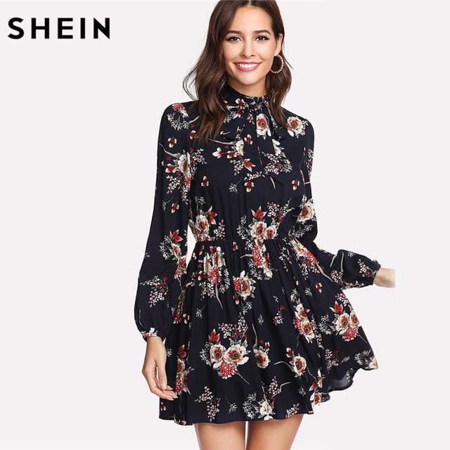 SHEIN Autumn Floral Women Dresses Multicolor Elegant Long Slee