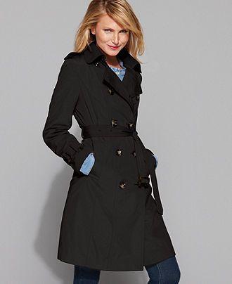 London Fog Coat, Classic Belted Trench Coat - Womens Coats .