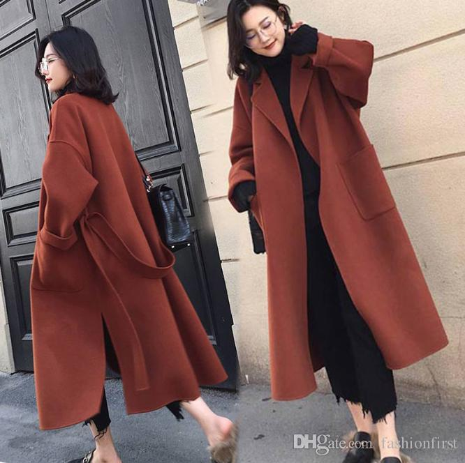 2020 Black Womens Coat With Belt Extra Long Warm Winter Hipster .