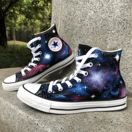 Womens Converse Shoes Galaxy Nebula Hand Painted High Top Canvas .