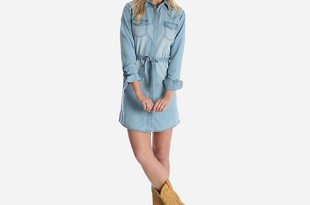 Women's Long Sleeve Western Denim Shirt Dress | Womens Dresses and .