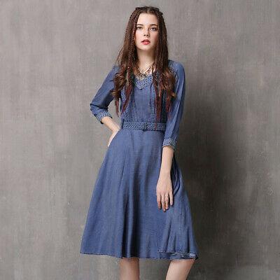 Women's Girls Denim Dresses Midi Sleeve Jeans Shirt Dress With .