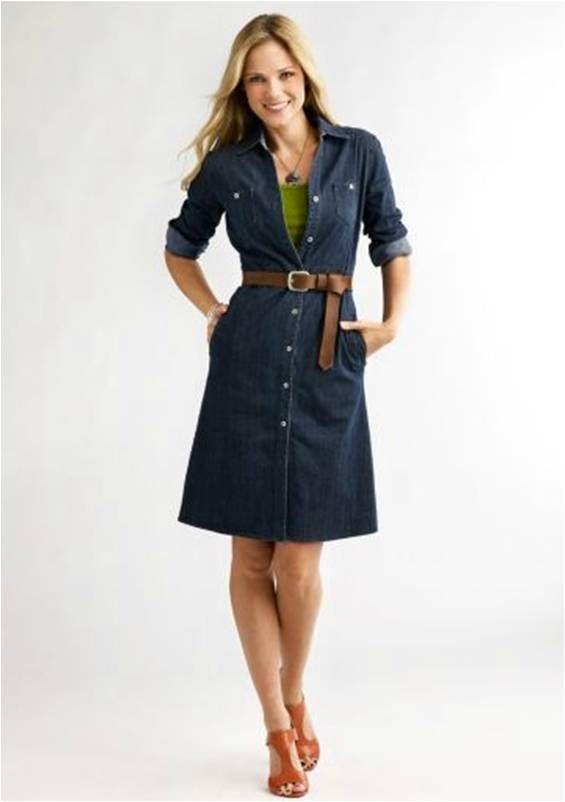 denim shirt dress | Denim dress outfit, Denim shirt dress women .
