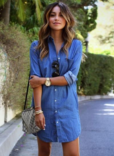 Women's Long Sleeve Button down Mini Denim Shirt Dress - STYLESIMO.c