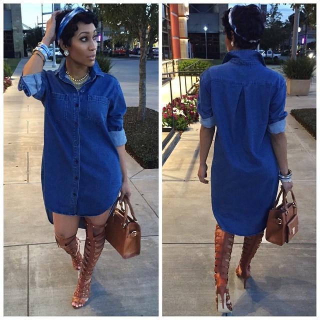 Fashion Women Denim Dress Boyfriend Long Sleeve Mini Shirt Dress .