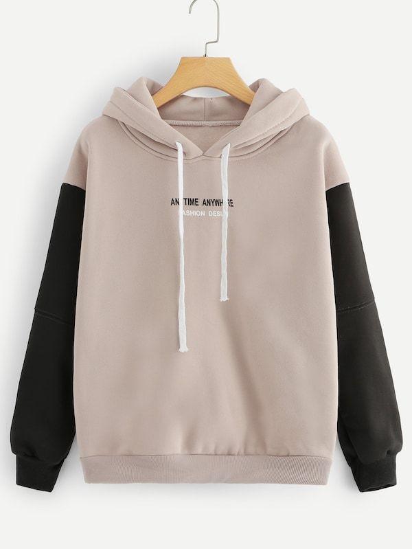 Contrast Sleeve Slogan Graphic Hoodie | Vintage hoodies, Graphic .
