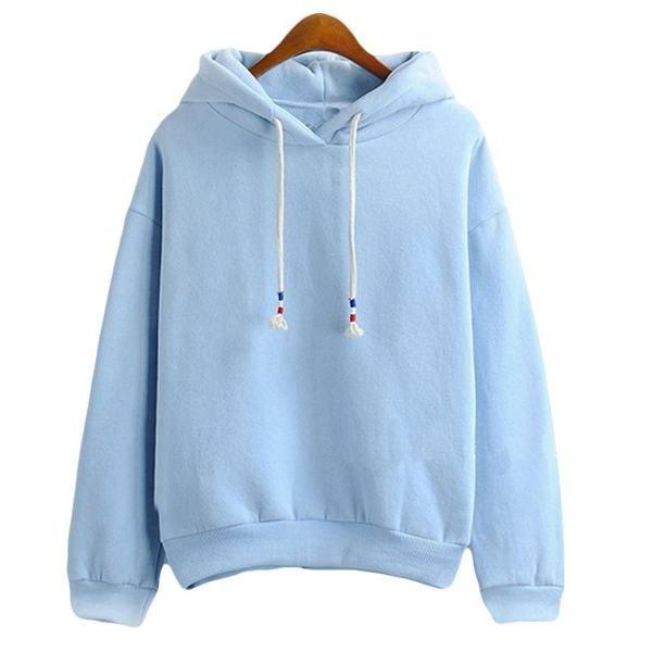 Womens Hoodie Sweatshirts - Thick Long Sleeve - Light Blue – I .