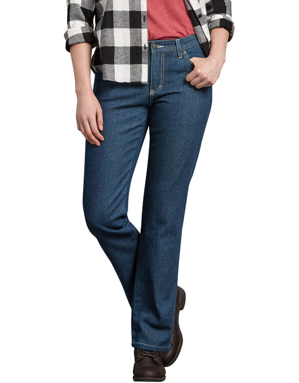 Women's Relaxed Fit Straight Leg Flannel Lined Denim Jeans .