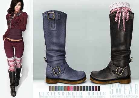 Second Life Marketplace - L&B - Leather Boots - Lexi Engine
