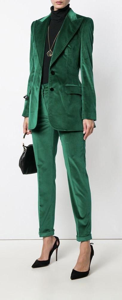 Green Velvet Women Suits 2 Piece Office Ladies Pants Suit Formal .