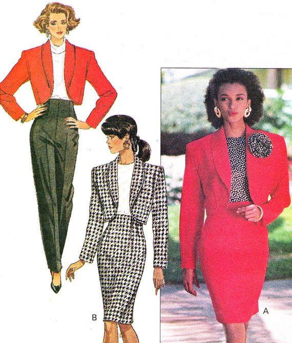 1980s Womens Suit Pattern Butterick 6580 High Waist by paneenjerez .