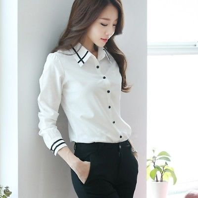 Elegant Womens Tops Blouses Shirt Formal Business Button Office S .