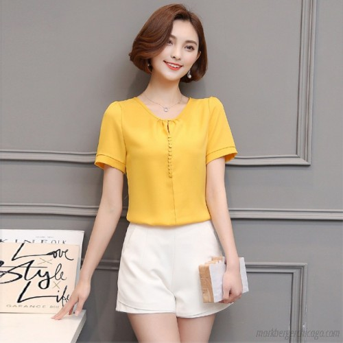 Summer Tops Chiffon Womens Tops and Blouses Short Sleeve Casual .