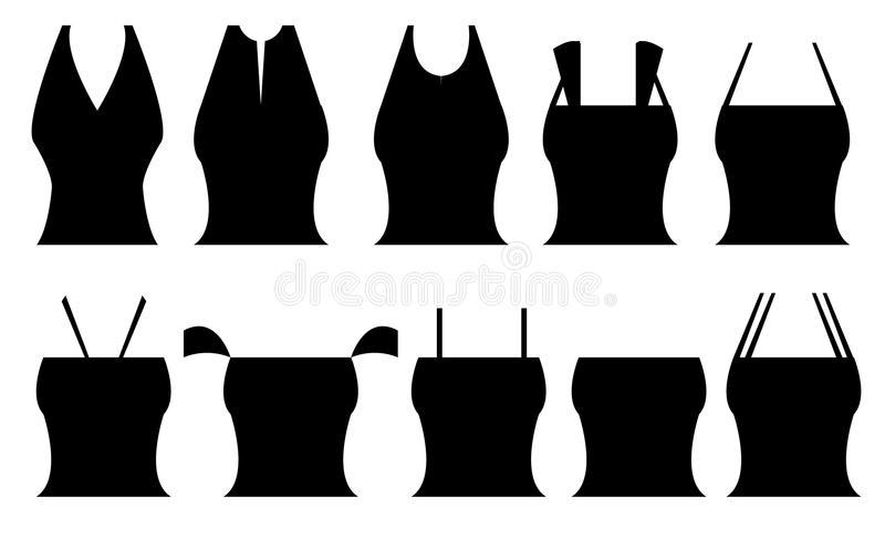 Different Shapes Of Women`s Tops Stock Illustration - Illustration .