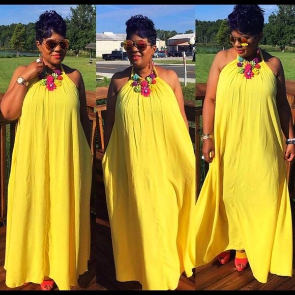 YourFashionFrenzy Dresses   Stunning Yellow Maxi Dress Plus Size .