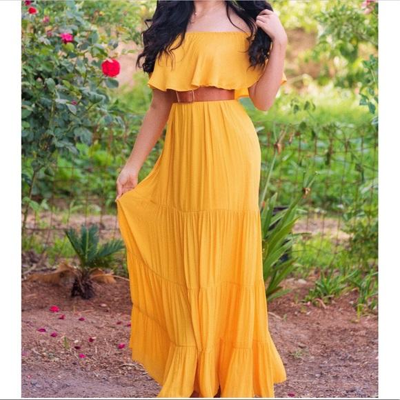 Forever 21 Dresses   Off Shoulder Yellow Maxi Dress   Poshma