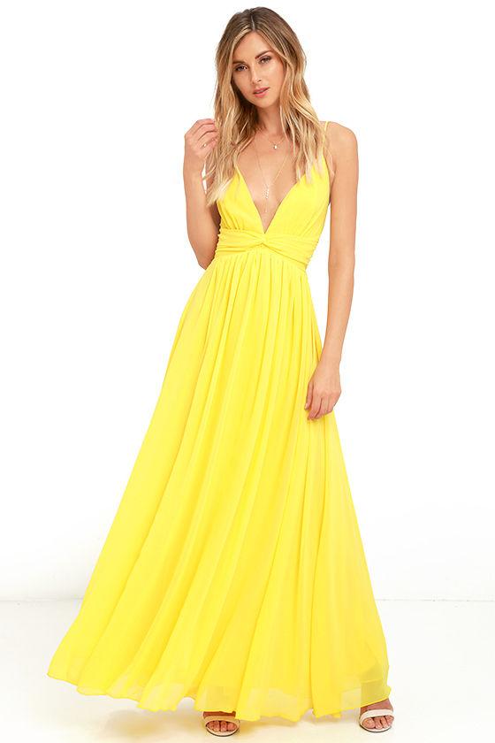 Lovely Yellow Dress - Maxi Dress - Bridesmaid Dress - Formal Dress .