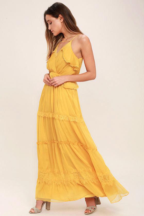 Lovely Golden Yellow Dress - Lace Dress - Maxi Dress - $117.