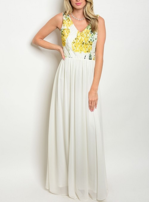 Yellow and White Floral Maxi Dress — Shopping In The
