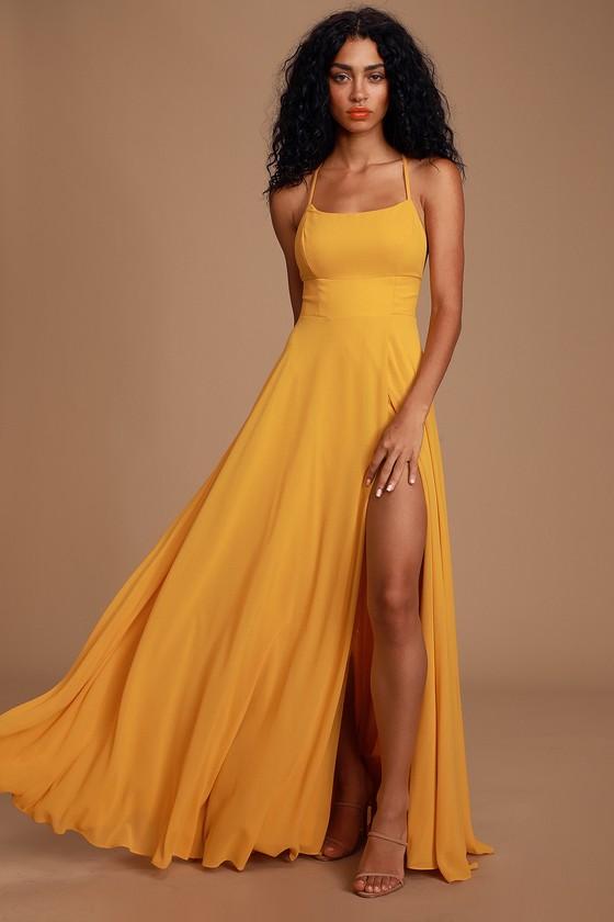 Glam Yellow Maxi Dress - Backless Maxi Dress - Mustard Dre