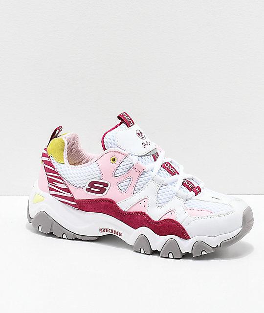 Skechers x One Piece D'Lites 2 zapatos en rosa y blanco | Zumi
