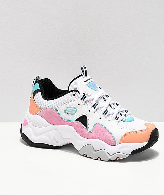 Skechers D'Lites 3.0 Wavy Suede Multicolor Shoes | Zumi